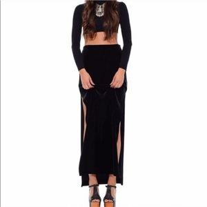 Tadashi Double High Slit Black Long Maxi Skirt